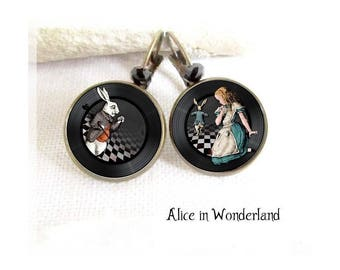 Alice in Wonderland Jewelry, alice earrings, Alice rabbit, White Rabbit, Alice Earrings, Bronze, Cabochon, Glass, Cheshire