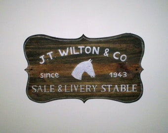Equestrian solid wood sign