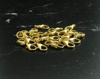 10 lobster clasp 6x12mm gold metal