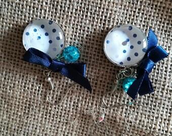 Blue polka dots cabochon earrings