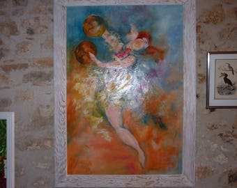 "Painting oil painting ""Cymbals dancer"""