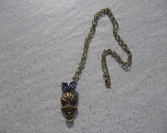 Necklace skull skull necklace, bronze