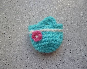 Miniature crochet bag in turquoise wool