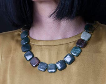 Women's Necklace Stone Green Yashma Squares Necklace Necklace for Women