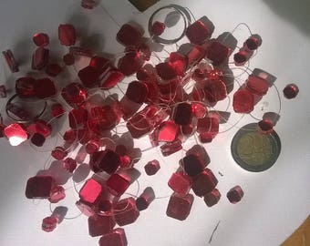 246) small red paste glass stones