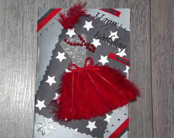 "Birthday card ""Feather dress"" Red"