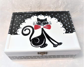 "Black and white sugar ""Mistigri the cute cat"" box"