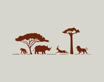 Safari stencil. Stenciled in Africa. Stencil animals from Africa. Elephant stencil. (ref 246)