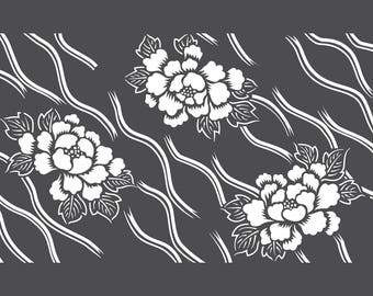 Floral pattern in vinyla stencil adhesive. Katagami (ref 232) flower