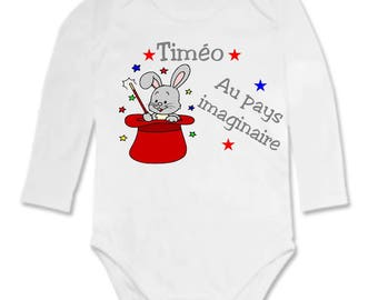 Bodysuit baby rabbit in Hat personalized with name