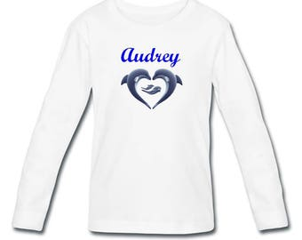 T-shirt sleeves dolphins girl personalized with name