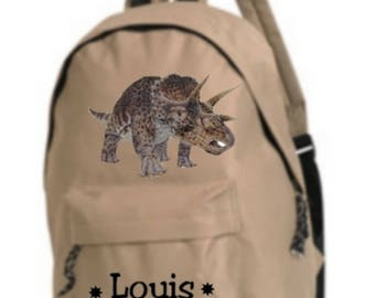 beige dinosaur backpack personalized with name