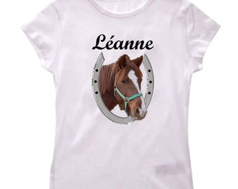 Girls horse personalized with name t-shirt