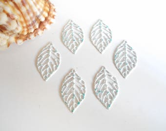 set of 6 prints enameled white glittery blue leaves