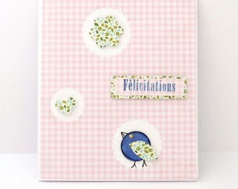 baby girl, pink and blue congratulations card