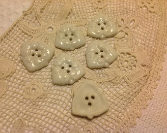 vintage white porcelain button sold individually