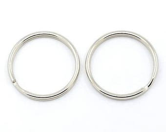 Set of 20 silver Keychain rings