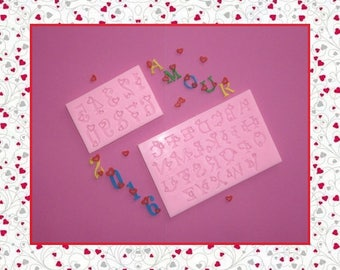 Silicone molds: alphabet letters and numbers 1-9 with hearts