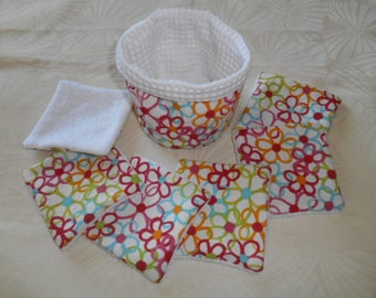 Washable wipes and matching pouch cotton multicolored floral and bamboo