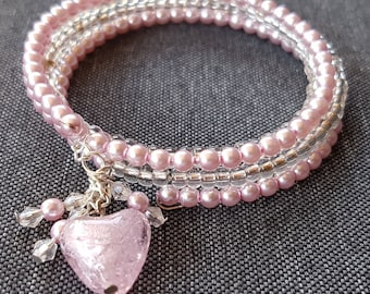 Heart pearl bracelet Pearl Pink and silver 4 threads