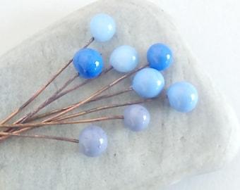 Lavender color - set of 8 bubble glass on copper stems