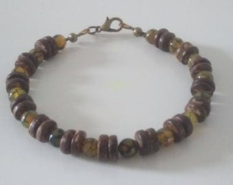 """Agate dragon and coconuts"" bracelet"