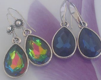 Faceted Crystal and silver metal drop earrings