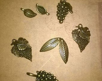 8 charms, charms, bronze 14 to 23mm approx.