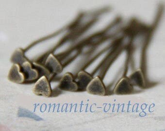 10 bronze Stud pattern heart 40mm, for your creations of jewels