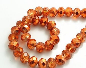 20 electroplates copper, Orange Crystal beads faceted 6 * 4mm