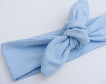 """Bandeau / headband jersey de coton """"BIO"""" bleu ciel à nouer"""