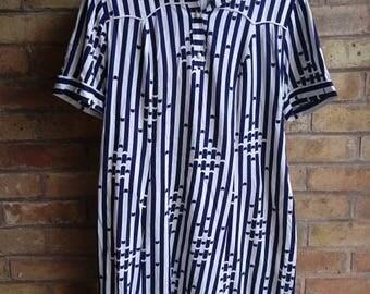 Vintage blue & white striped tunic