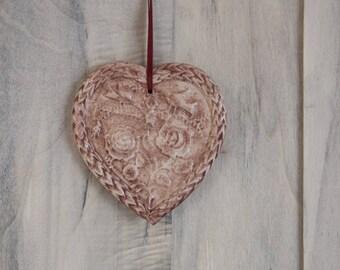 Brick red embossed pink ceramic heart