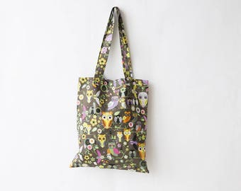 Colorful owls print cotton tote bag