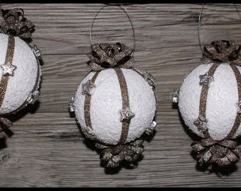 set of 3 Snow White Christmas balls decorated with Brown glitter paper and Silver Star Ribbon