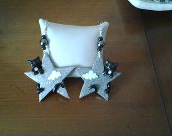 Cat on a star earrings