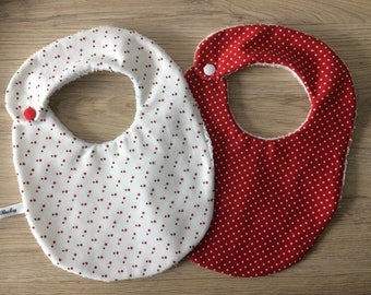 personalized baby bib with red stars