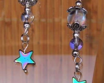 Stylish earrings made of Czech crystal and Rainbow Hematite stars