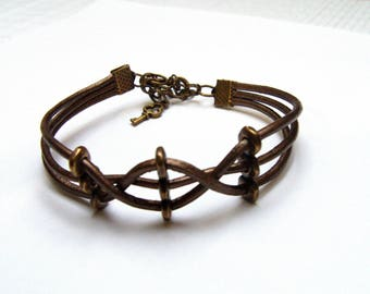 Bracelets braided leather ties, 2 models