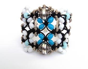 woven Cuff Bracelet macrame and beads