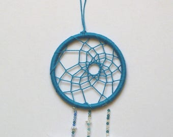 "Small dream catcher blue turquoise with 10 cm in diameter ""Blue dreams"""