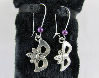 "Earrings ""Venetian mask & purple Pearl"""
