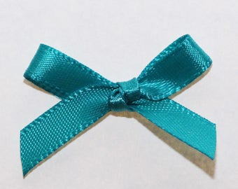 25 x 7mm Satin ribbon bow: Turquoise - 02349