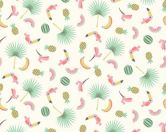 Chenoa patterns toucans, watermelons and palm trees 100% cotton fabric