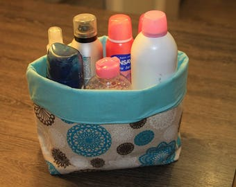 Storage for cosmetics or other hand-sewn fabric basket