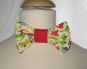 Bow tie in yellow cotton with colorful cars