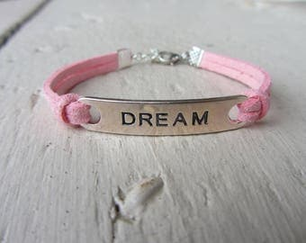 "Girly, pink suede and bracelet silver with inscription ""dream"" rectangle spacer plate"