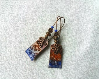 Earrings dangle ethnic charm rectangle enameled copper flower metal seed beads in blue, orange and copper