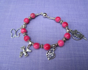 Ivory bracelet pink leather and silver charms