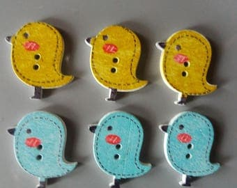 Set of 6 wooden bird shaped buttons